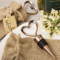 Heart Shaped Copper Plated Wine Stopper in Burlap Bag