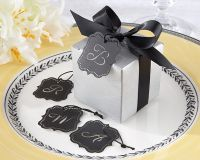 Letter Perfect Silver Favor Box Kit with Laser-Cut Monogrammed Tag
