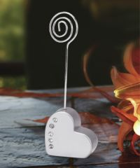 Silver Heart with Rhinestones Place Card Holders