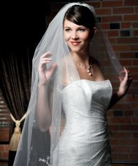 Floral Embroidered Border and Cut Edge Wedding Veil