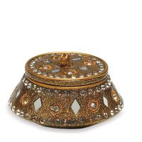 Golden Lac Box / Cardholder with Beads & Mirror (sets of 4)