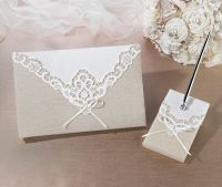 Country Lace Guestbook & Pen Set