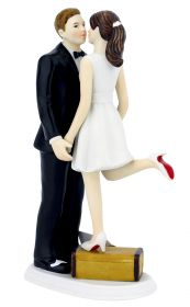 A Kiss and We're Off Suitcase Wedding Cake Topper
