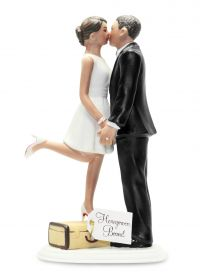 A Kiss and We're Off Medium Skin Wedding Cake Topper