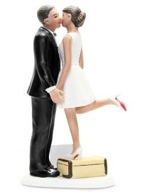 A Kiss and We're Off Medium Skin Tone Cake Topper