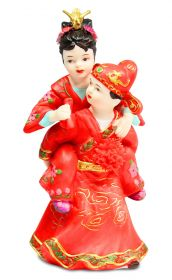 Cute Asian Couple Traditional Cake Topper