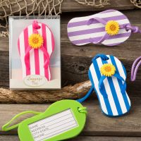 Flip Flop Luggage Tags in Striped Design - Set of 4