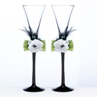 Green and Black Toasting Flutes