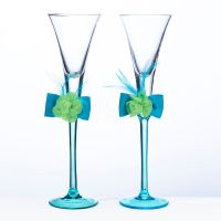 Blue and Green Toasting Flutes