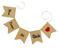 Here Comes the Bride Burlap Wedding Banner