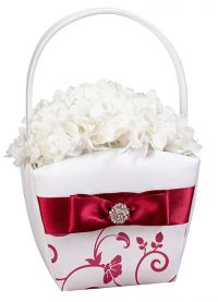 Red and White Flower Basket