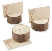 Rustic Round Real Wood Place Card Holders