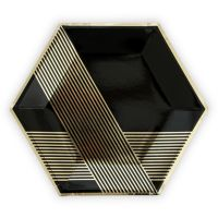 Black & Gold Hexagon Large Party Plates - Set of 8