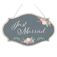 Here Comes the Bride - Just Married Oval Sign