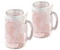 Set of 4 Lace Glass Covers
