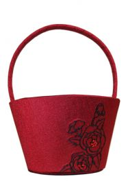 Red Silhouettes in Bloom Flower Basket