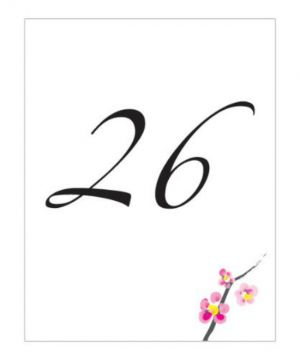 Cherry Blossom Table Number Cards