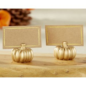 Gold Pumpkin Place Card Holders (Set of 6)